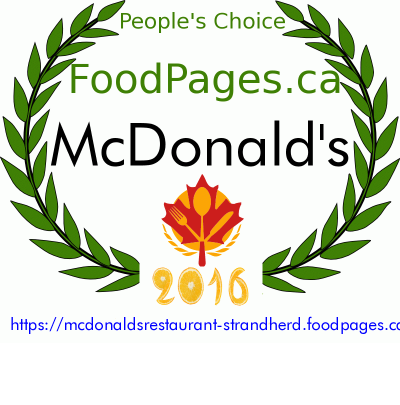 McDonald's FoodPages.ca 2016 Award Winner